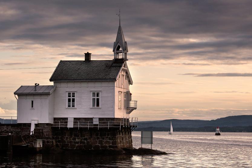 Dyna Lighthouse & fog bell (Dyna Fyr), landmark Oslofjord