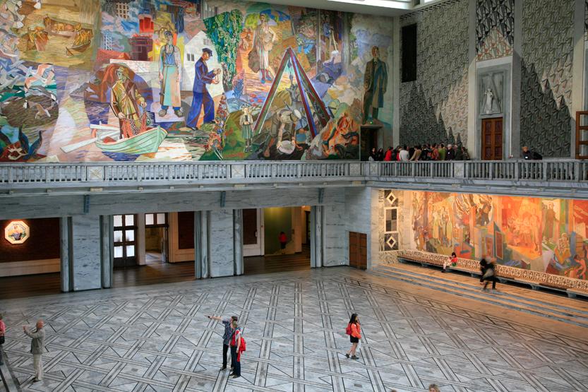 A l'intérieur du Cityhall d'Oslo (1931, Art Deco)