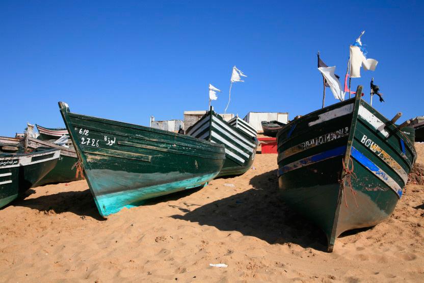 Bateaux de pêche sur la plage d'Oualidia