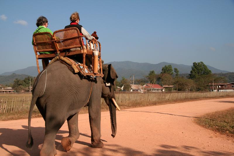 Hongsa, la balade obligatoire à dos d'éléphant