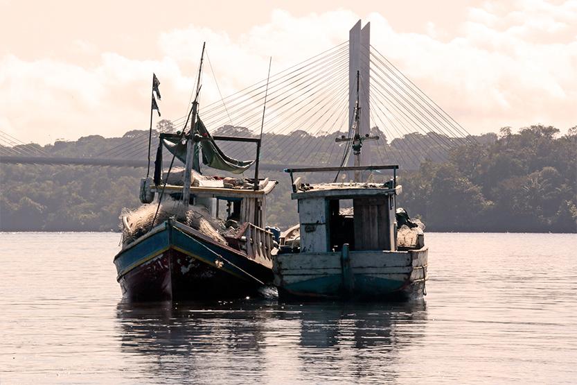 Bateaux de pêche devant le pont reliant la France & le Brésil