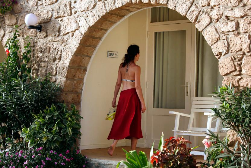 Terrasse ou jardinet privé des chambres du Morabeza