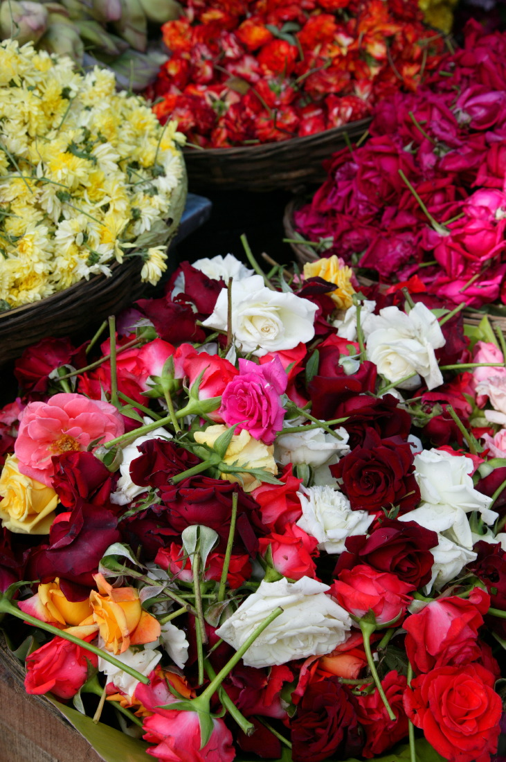 Petit marché de fleurs près du  Sri Lakshmi Narasimha Swami Temple, Nala Bazaar, Secunderabad, Bangalore