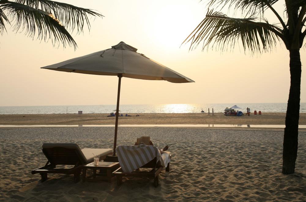 Coucher de soleil sur la plage du Leela Kempinski Goa, Mobor