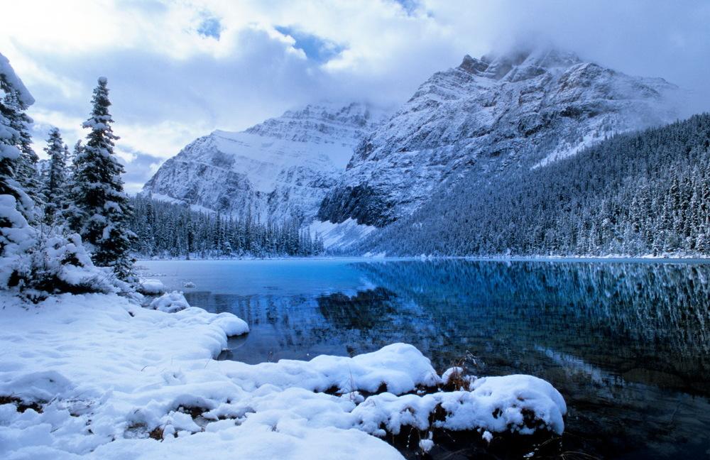Petit matin, rando jusqu'au lac et glacier Edith Cavell