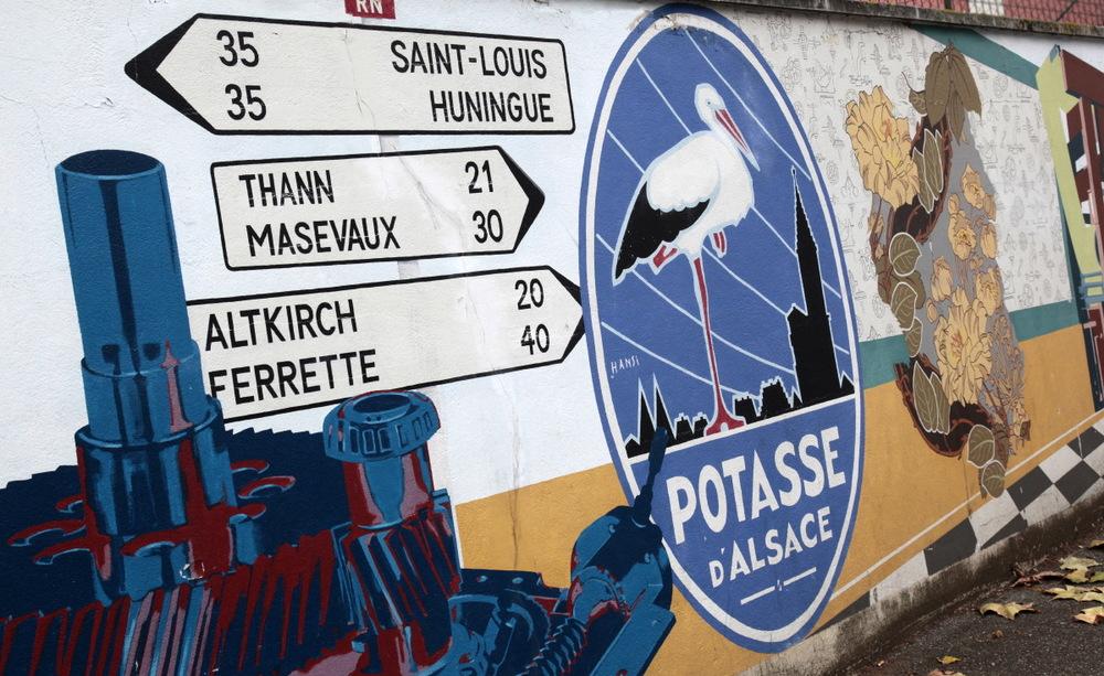 Mur peint au centre de Mulhouse