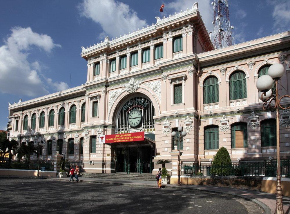 La façade du Bureau de la Poste centrale de Saigon