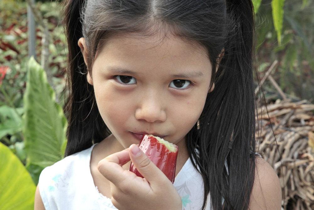 Petite fille et la pomme de rose (Chomphu)