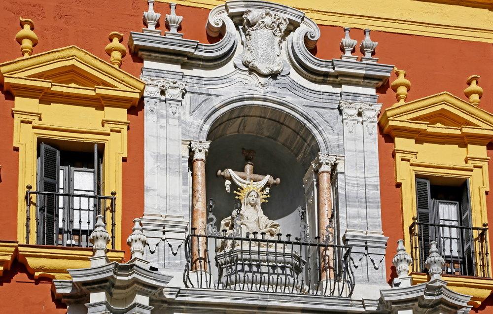 Détail du palais épiscopal, plaza del Obispo