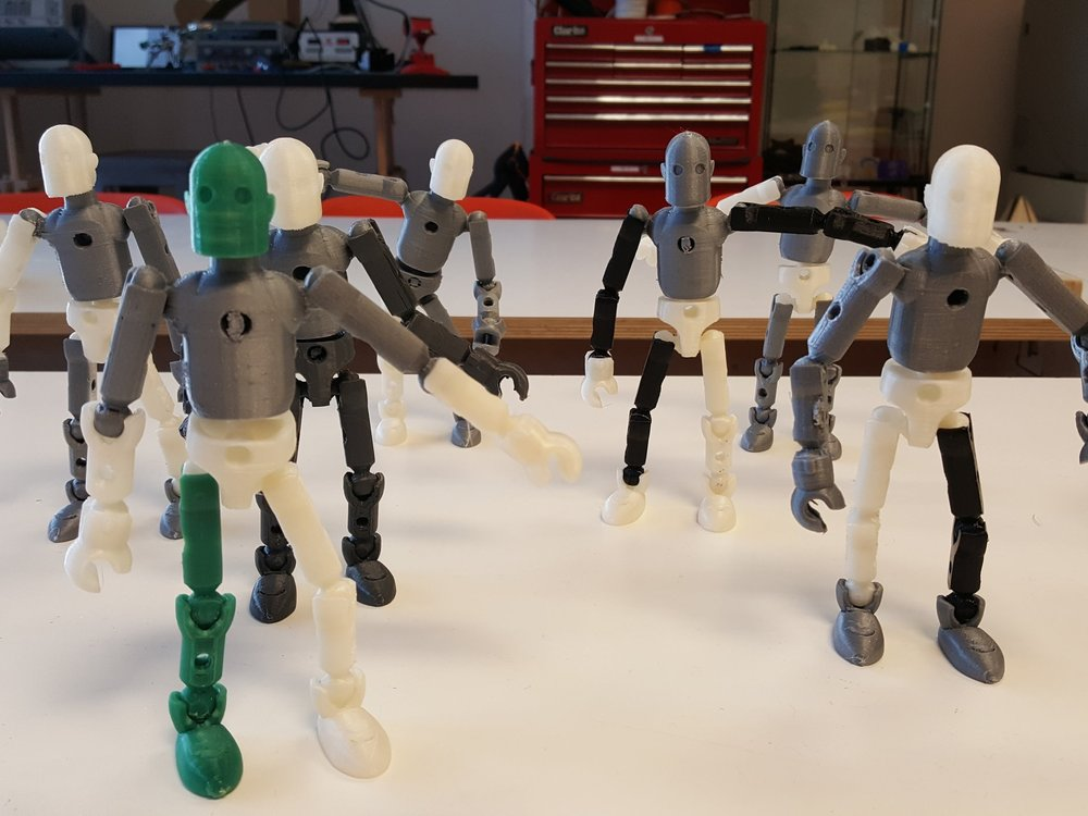 3D printed action figures ready for customisation...
