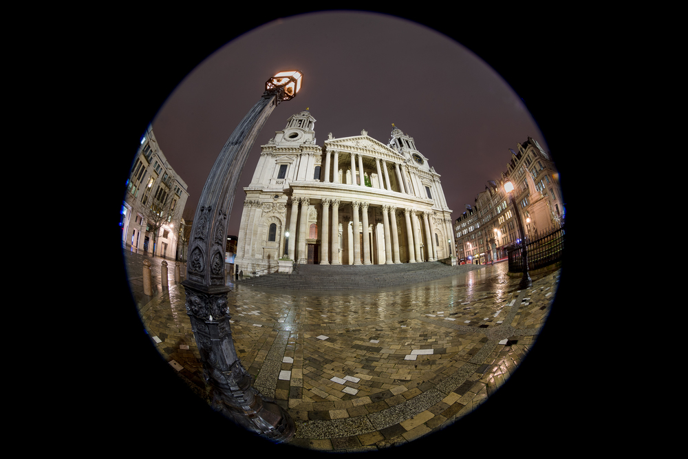 'A Twisted View'... St Pauls Cathedral taken with a fisheye lens on a wet December's evening....