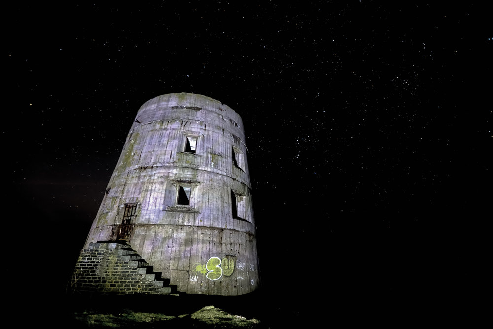 'Night Sky over the Tower'... La Prevote Watch Tower at night...