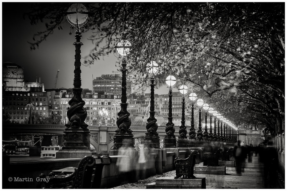 'Ghosts of the Embankment'... A winter Evening on the London Embankment...