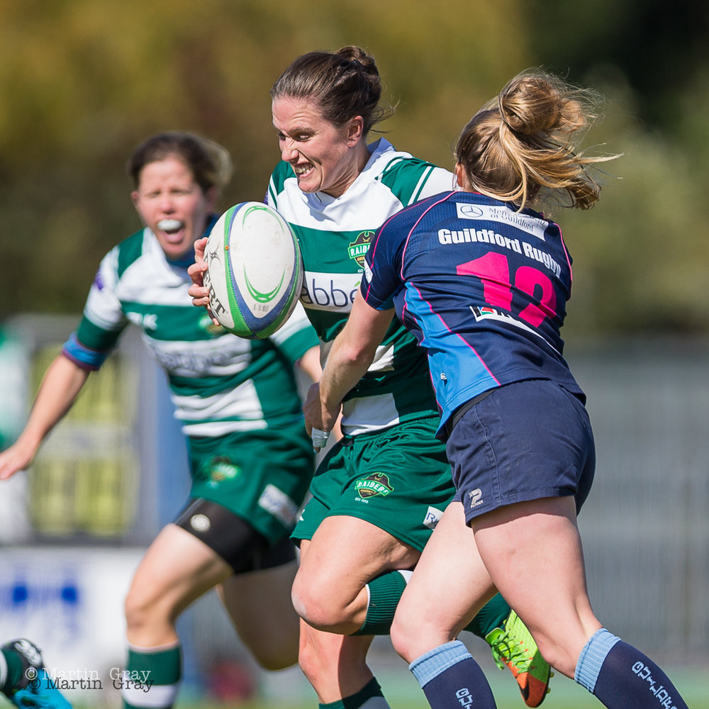 Vicki Rang looks to find space against Guildford......