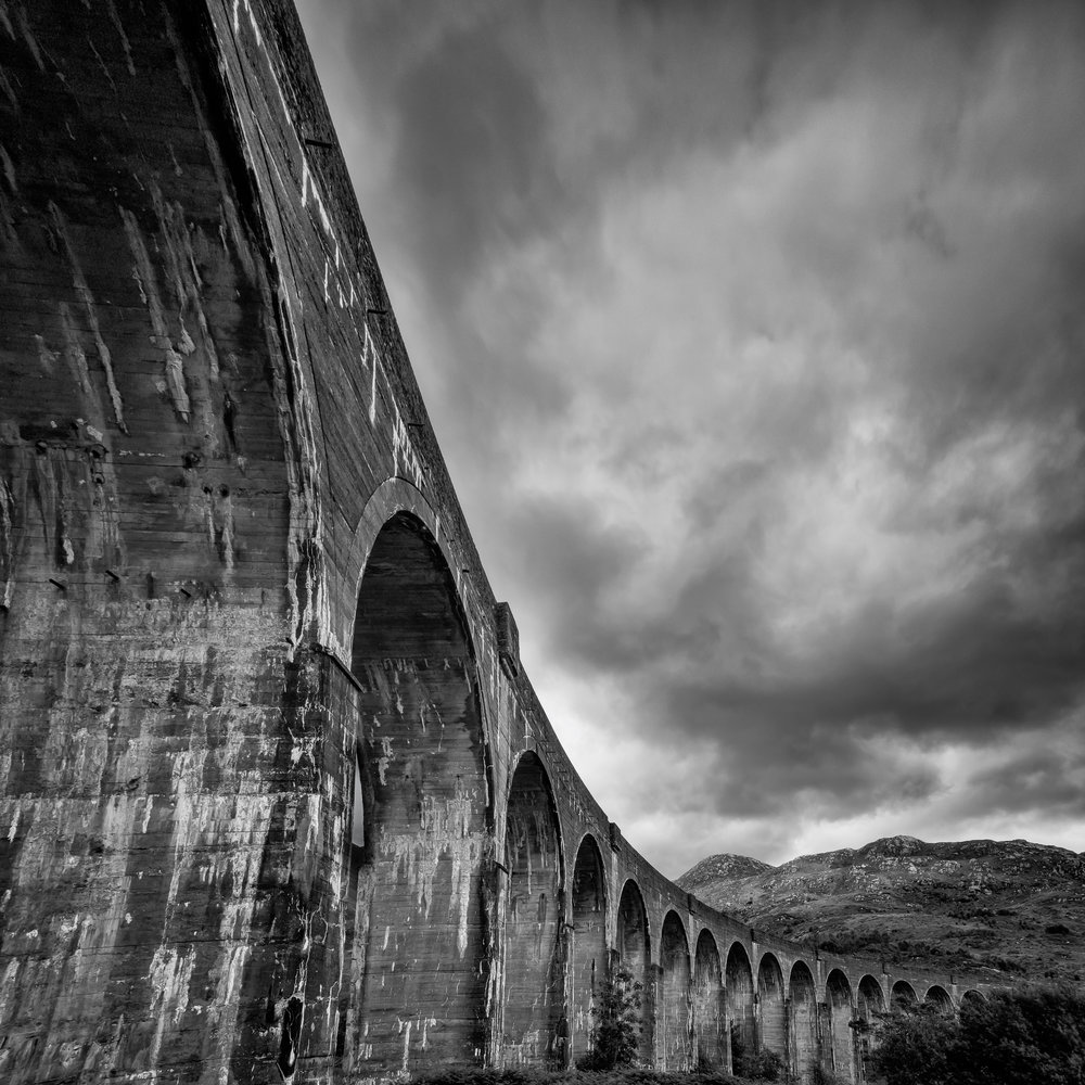 'The Glenfinnian Viaduct'... Love this B+W of the Glenfinnian Viaduct, shot from underneath the pillers...