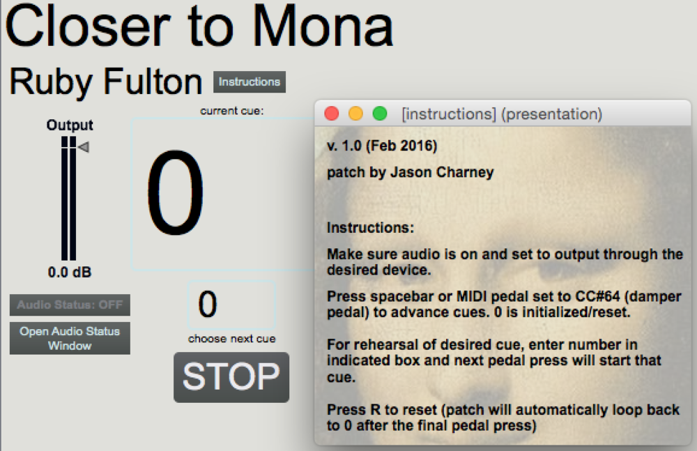 "Performance patch for Ruby Fulton's ""Closer to Mona"""