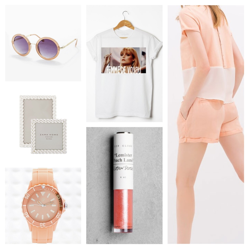 Lunettes de soleil -  Urban Outfitters  - 25€  T-shirt « Elvira » -  Florette Paquerette  - 24€  Short Jacquard rose -  Zara  - 19,99€  Cadres -  Zara Home  - 9,99€  Gloss -  & Other Stories  - 5€  Montre corail -  Urban Outfitters  - 14€
