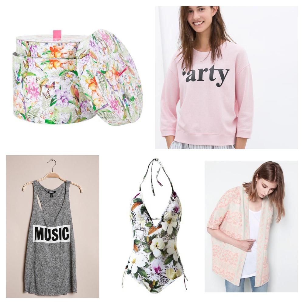Boîtes -  Zara home  - 7,99 €  Sweat Arty -  Zara  -7,99 €  Débardeur Music -  Jennyfer  - 7,99 €  Maillot de bain -  3 Suisses  - 22,49 €  Veste -  Pull & Bear  - 19,99 €