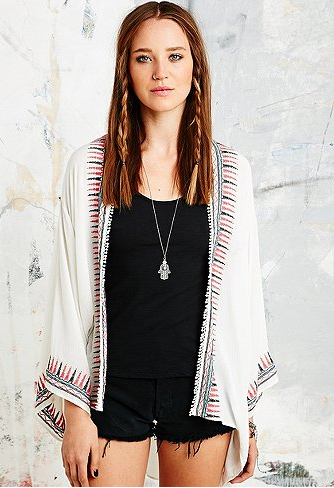Veste kimono ivoire - Urban Outfitters