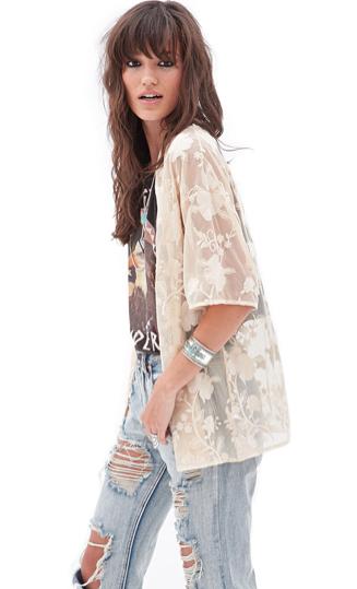 Kimono Fleuri Brodé - Forever 21