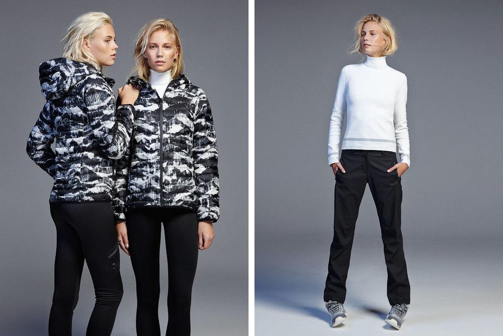 Doudoune imprimée 79,99€/ Pull tricot col montant 39,99€/ Pantalon Ski 39,99€/ Pantalon poches Ski 59,99€