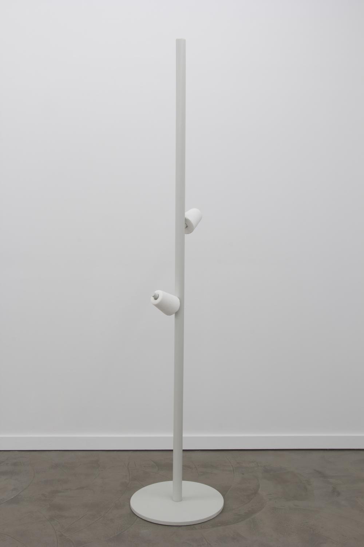 """Rack 02 2011  wood, metal fastening, chalk cones, and oil enamel 96 1/4""""x20 1/2""""x20 1/2"""""""