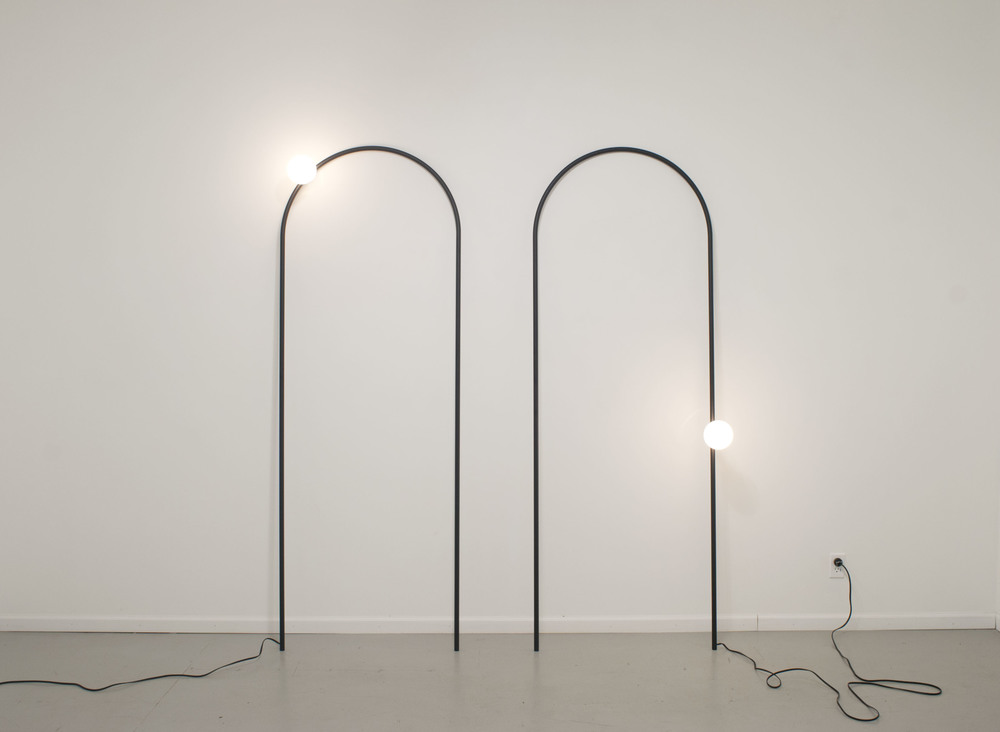 "Arch Lamp 2012  wire, powder coated, lamp components, bulb 32"" x 88"" (each)"