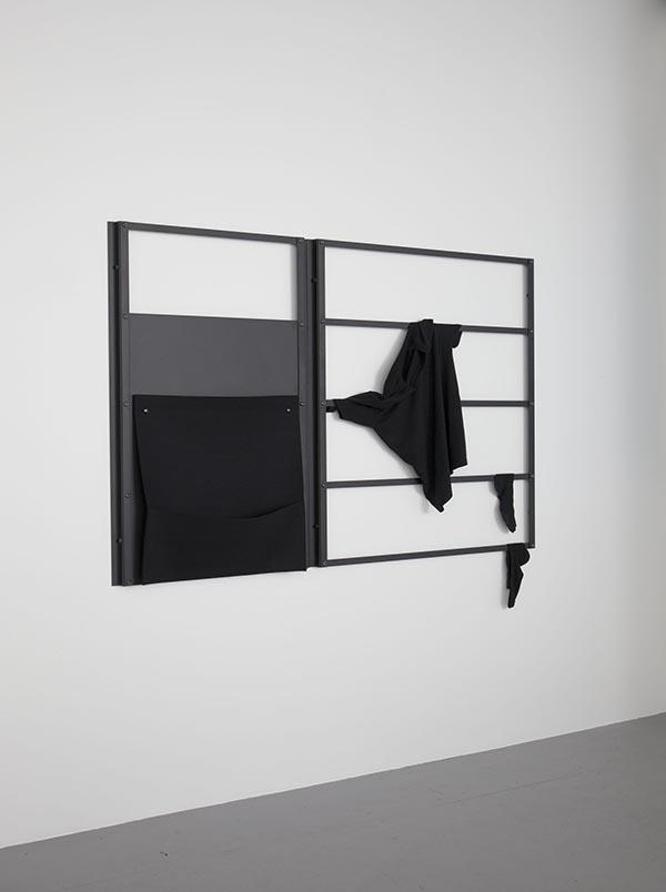 Wall Rack 01  powder coated aluminum, felt pocket, black shirt and socks 4'x6'