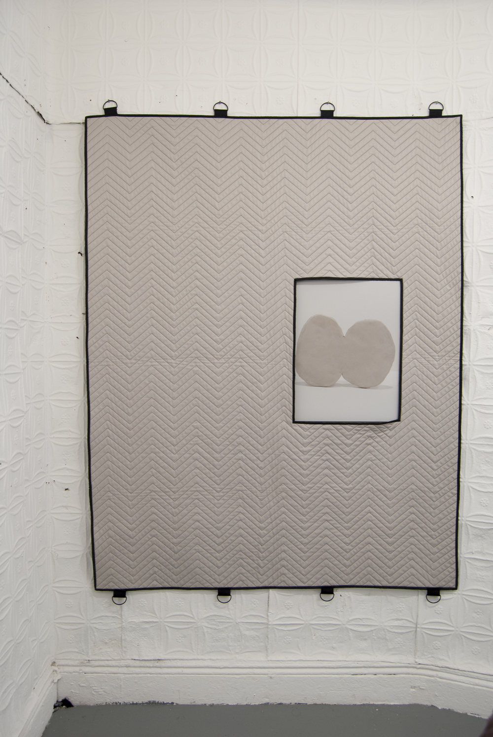 """Round About"" Collaborative with Christalena Hughmanick 2014  fabricated moving blanket, archival pigment print 56""x 73"""