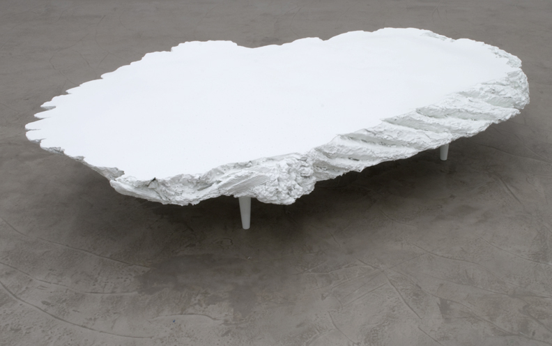 "Table 01, 2011  Cast plastic, foam, wood and oil enamel 59""x34""x11"""