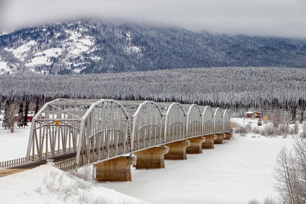 The longest bridge on the Alaska highway in Teslin, Yukon.