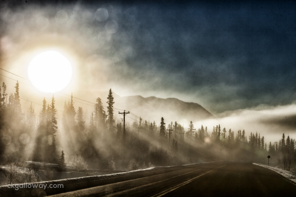 We drove in and out of clouds on the Klondike highway, on our way to Carcross. This was shot through the car window, by the time I got outside, the clouds and light had changed and the shot was gone. Photo by Christa Galloway.