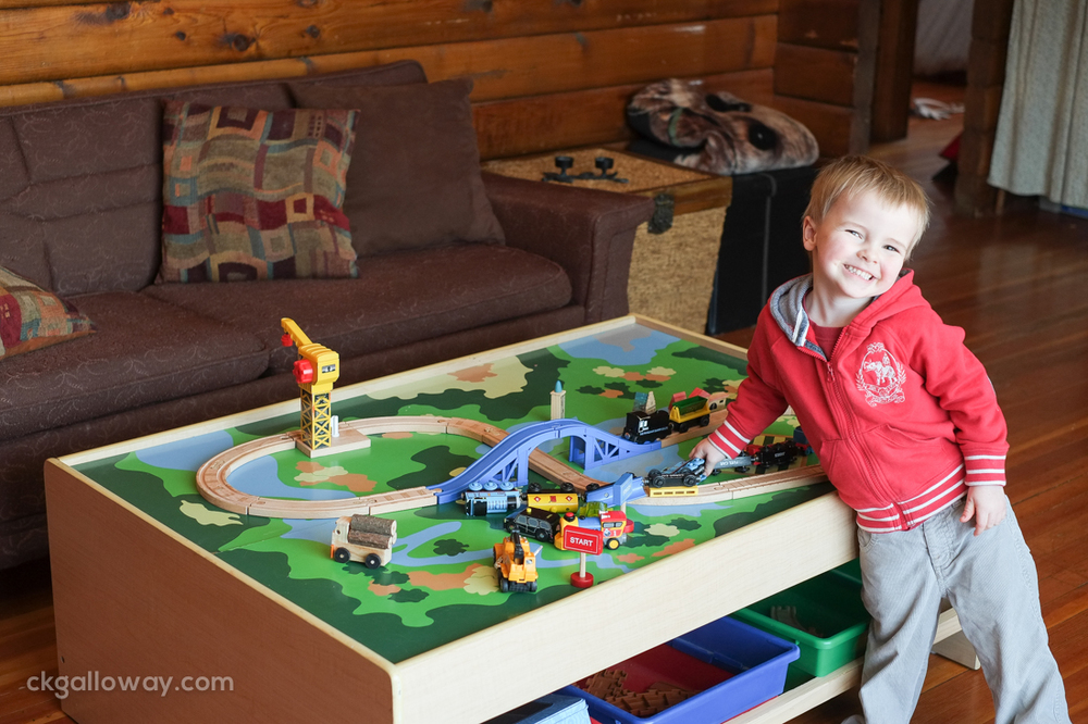 Now, not only do we have a coffee table, but Oscar can play with his train set without having to bend over or crouch.