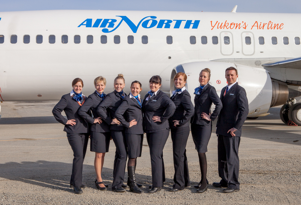Christa (me), Sonja, Jazmine, Erin, Angelica, Jessica, Susan and Eric, the brand spankin' new Air North flight attendants. Photo by Christa Galloway. (I used a tripod and a self-timer.)