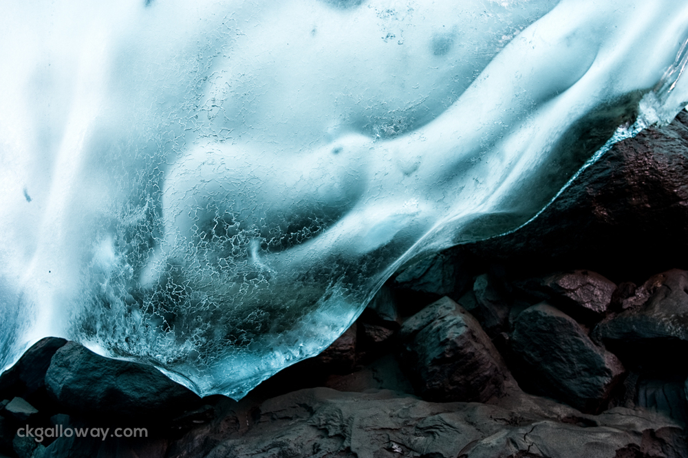 Glacier ice and rock, forming the Mendenhall caves. Photo by Christa Galloway.
