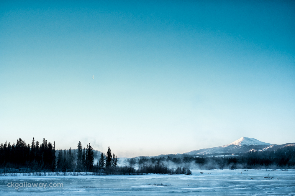 The Yukon River in Whitehorse, steaming on a cold March morning. Photo by Christa Galloway.