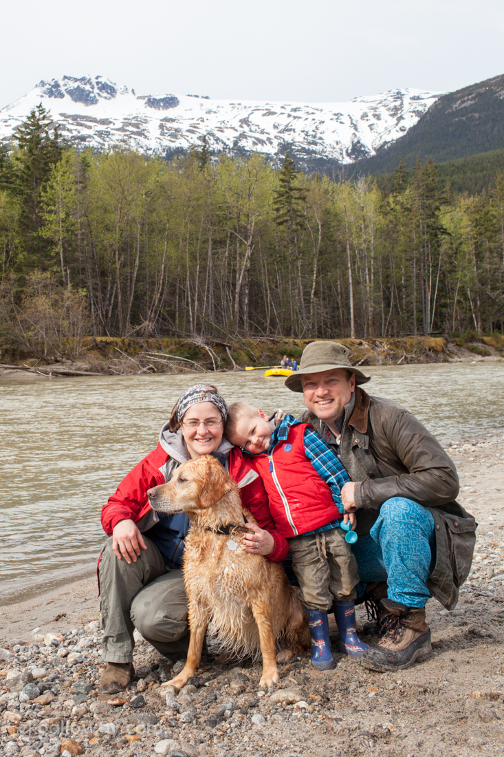 Family self-portrait on the Taiya from our camping trip in Dyea, Alaska on the week-end.