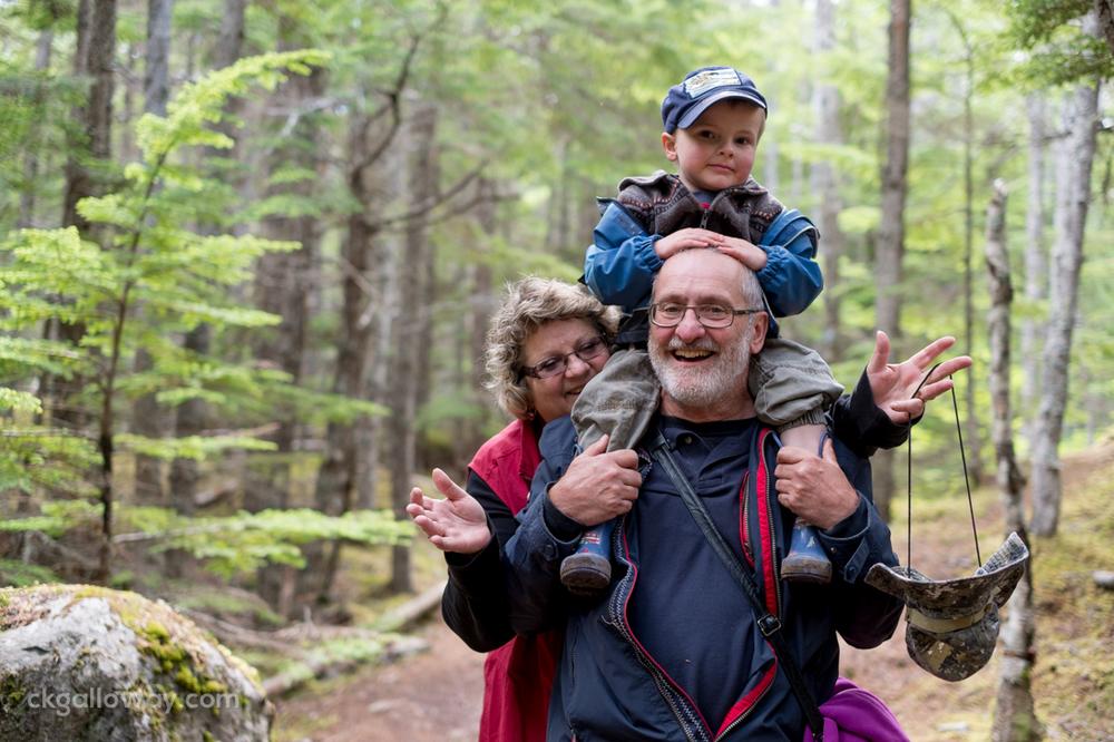 Oscar with his Gran and Grandad hiking Lowey Dewey Lake in Skagway, AK.