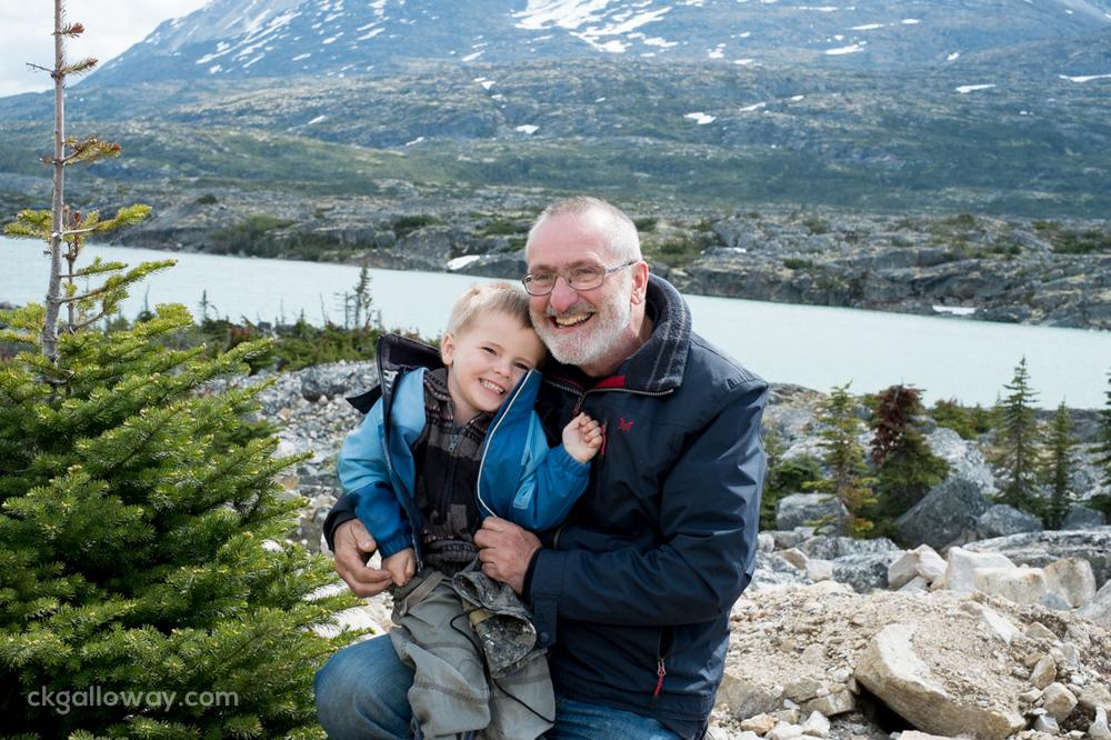 Oscar with his Grandad near the US Canada border on the Klondike Highway.