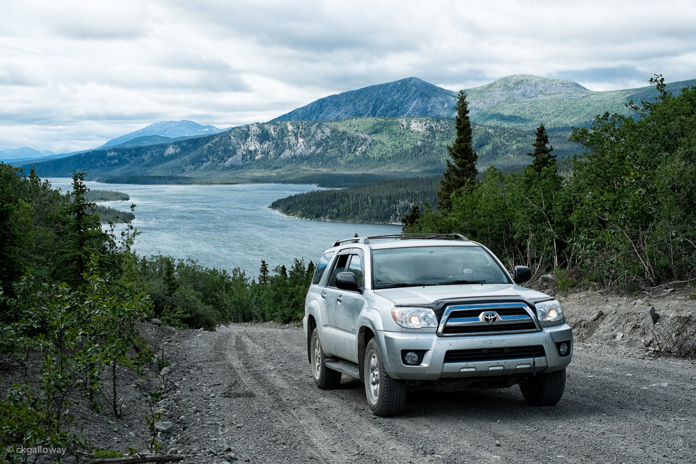 Our 4Runner on the Aishihik road.  Photo by Christa Galloway.