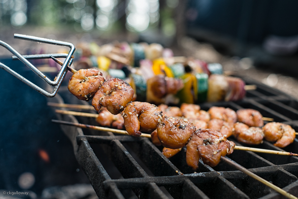 Our campfire dinner, marinaded shrimp and vegetable kabobs.  Photo by Christa Galloway.