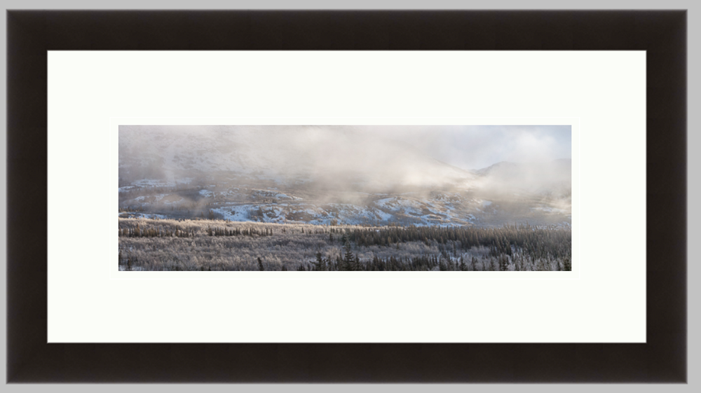 "Mountain Panoramic, 10"" X 20"" black frame, 5"" X 10"" print with a double white mat. $160"