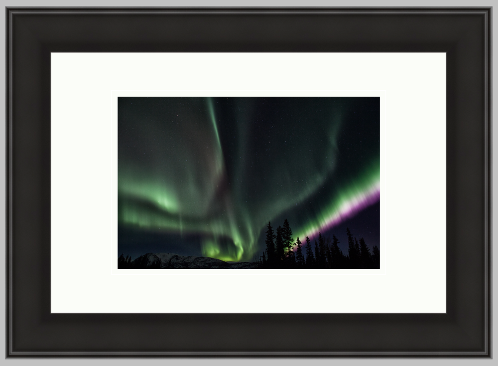 "Northern Lights, 12"" X 18"" frame with an 8"" X 12"" print and a double white mat. $160"