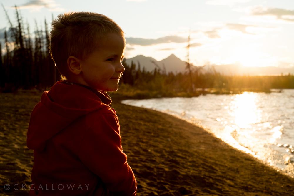 Oscar at Pine Lake, Yukon.  Photo by Christa Galloway.