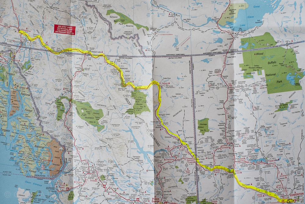 Our route north to Whitehorse.
