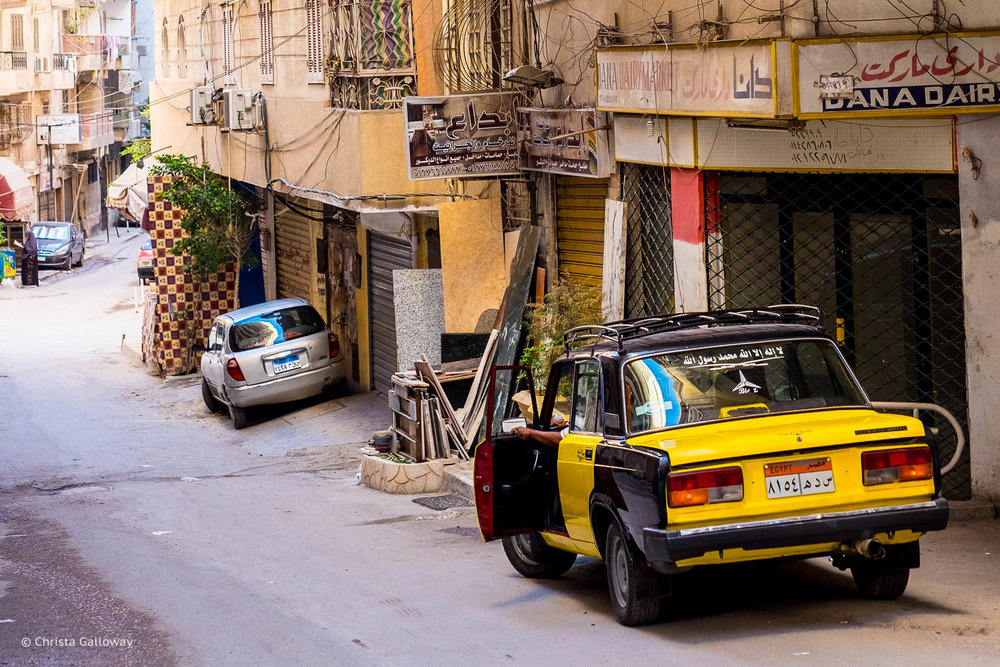 A yellow cab in Kafr Abdou, Alexandria, Egypt.