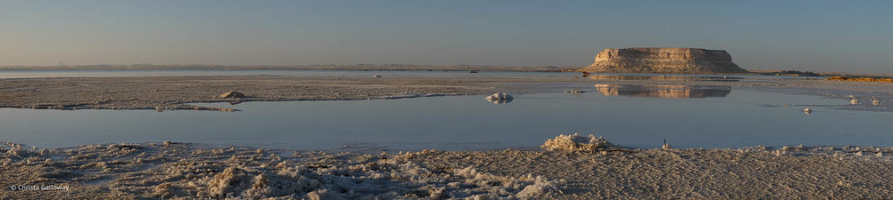 The salt rimmed lake at Siwa, Egypt.