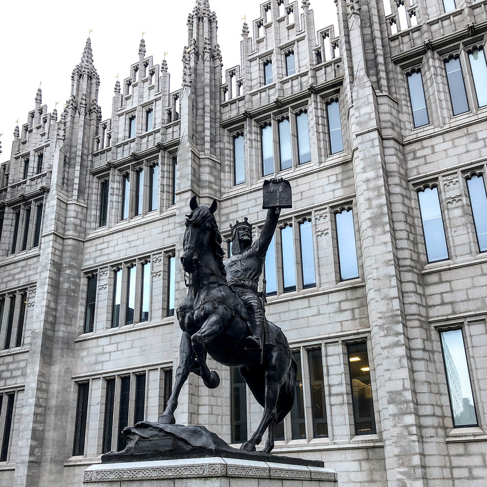 Robert the Bruce statue in Aberdeen, Scotland. Photo by Christa Galloway.
