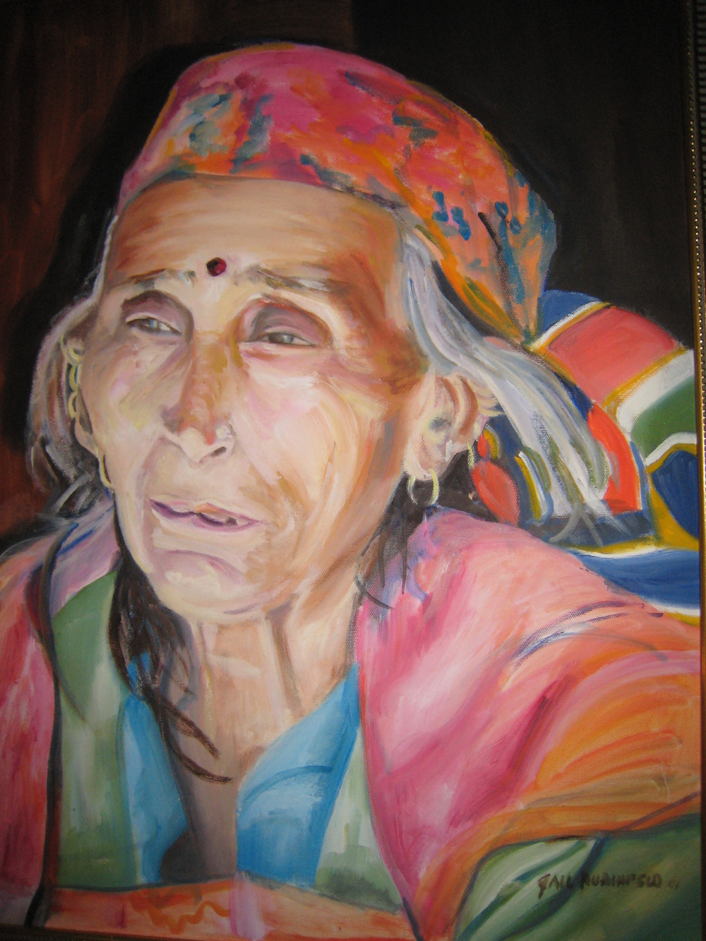 Portrait of Old Woman from India