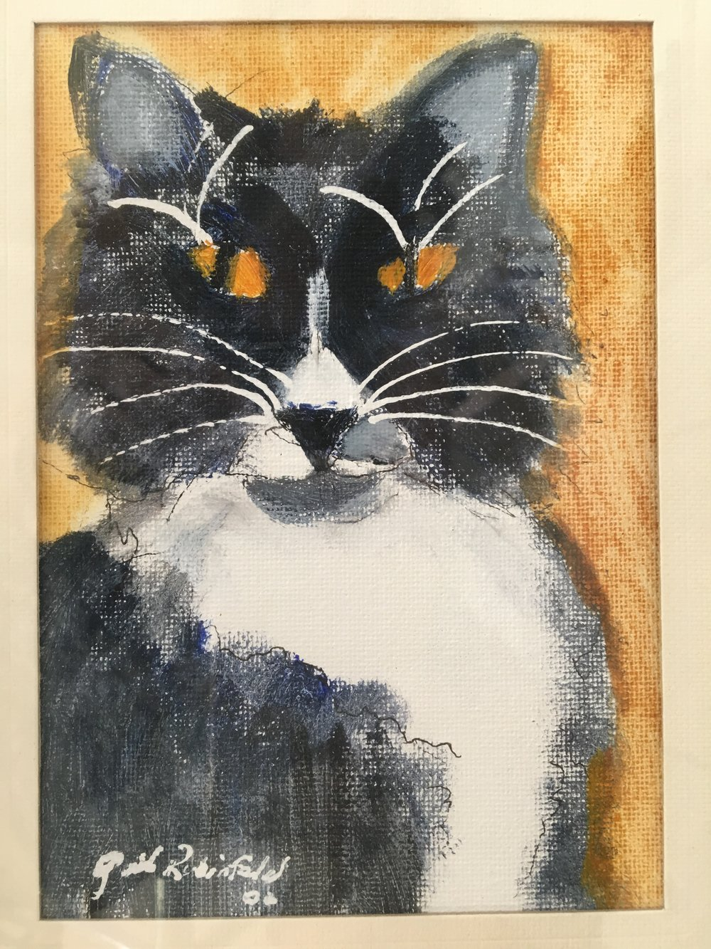 """The Mystery Cat"" 12x10 acrylic"